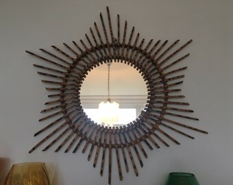 Vintage French Rattan/Bamboo Sunburst Mirror
