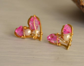 Heart Shaped Earrings, Gold Fill Earrings, Freshwater Pearls, Rice Shaped Pearls, Pink Crystals, 14K, June birthstone