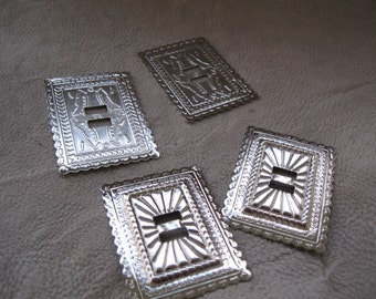 rectangle  concho   nickel  4 pcs   2 by 1 1/2  free shipping in usa