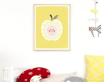 Apple Print, Fruit Nursery Decor, Scandinavian Kids Print, Fruit Print, Kitchen Decor Apple Wall Art, Printable Nursery Art Kitchen Wall Art