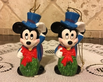 TWO Schmid 1988 Ornament Disney Mickey Mouse Warm Winter Ride