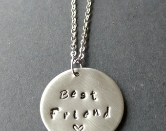 "Hand Stamped Stainless Steel Necklace ""Best Friend"", BFF Necklace, Handstamped Metal Jewellery, Handstamped Jewelry, Gift for Friend"