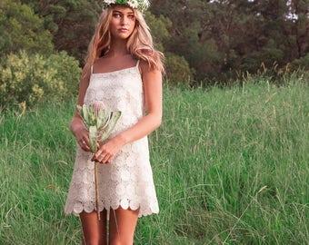 NEW! Boho Bridesmaid Dress | Boho Wedding Dress |  Lace Bridesmaids Dresses Short | Vintage Lace | Daisy Dress