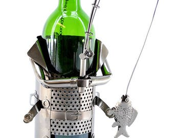 Happy Fisherman with Pale Full of Fish Wine Bottle Holder Character