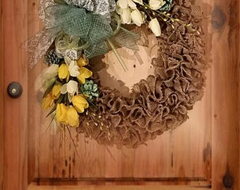 """22"""" Burlap with Yellow and White Tulips and Green Bow"""
