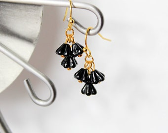 gold black earrings romantic gift for her black jewelry gift for wife black gift bridesmaids earrings gift flower earrings dangles gift K287