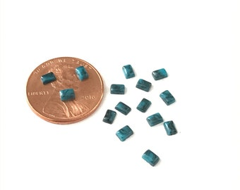 25 Dark Turquoise and Black Glass Rectangle Cabochons 3 1/2 x 2 1/2mm