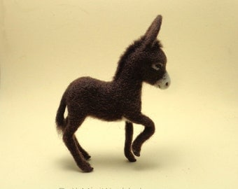 Dollhouse Baby Donkey Miniature- 1:12 scale- Poseable- Needle felted- OOAK- Ready to Ship