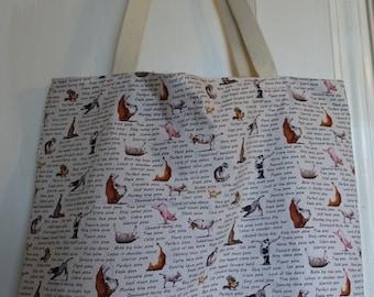 Yoga All Purpose tote bag, shopping bag, market bag, grocery bag, beach tote bag, washable, reusable, animals