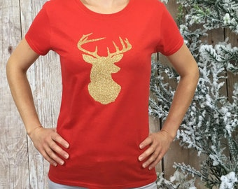 CHRISTMAS SHIRT, deer shirt, glitter deer shrit, womens winter shirt, winter shirt, holiday shirt
