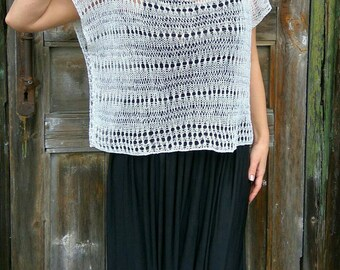 White Linen Loose Top, Handknit Lace Vest, Oversize Summer Sweater, Lightweight Sweater, Boho Flax Top, Boatneck Sweater, Plus Size Eco Top