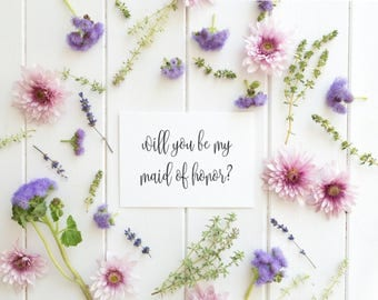 Will You Be My Maid Of Honour Card, Will You Be My Maid Of Honor Card, Maid Of Honor Proposal, Bridal Party Card, Engagement Invitation, PDF