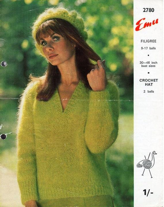 Mohair Beret Knitting Pattern : womens mohair sweater crochet beret knitting pattern pdf 10ply