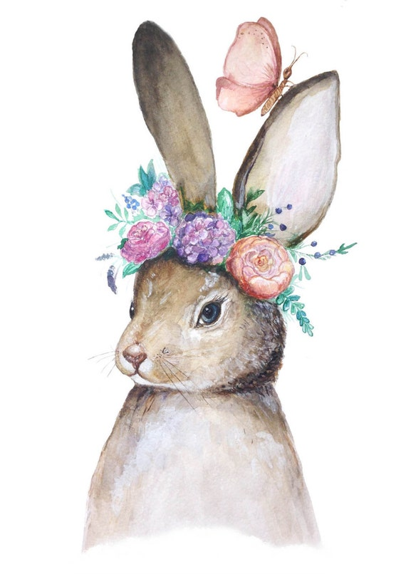 Items Similar To Bunny With Flowers Original Watercolor