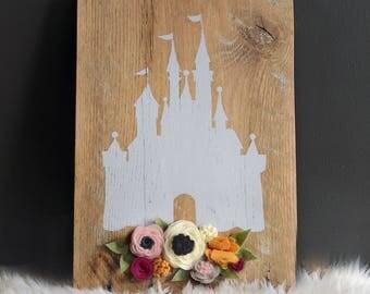 Disney Princess Castle / Barn Wood / Felt Flowers