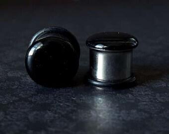 "Black Glitter Single Flare Plugs (8G - 1/2"")"