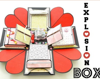 Anniversary gift explosion box // Love Explosion Box // Surprise exploding box card // Wedding gift explosion box //