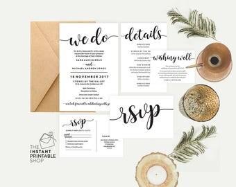 Rustic wedding invitation set, Black and white wedding invitation, Wedding invitation template, Editable pdf invites, Printable stationery