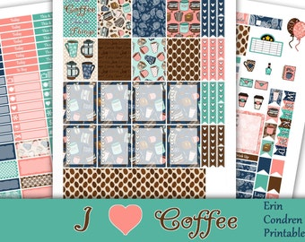 SALE~I Heart Coffee~Erin Condren Printable Planner Stickers Weekly Kit For The Erin Condren Life Planner