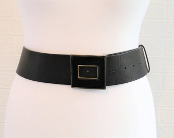 Planet Black Leather Belt with Black and Gold Square Buckle Length 44 inches 1990s