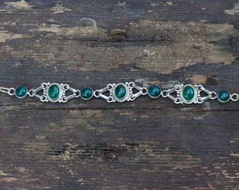 925 silver green aventurine bracelet