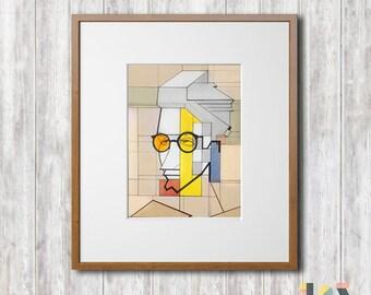 Original Watercolor Painting/ composition/ men/ glasses