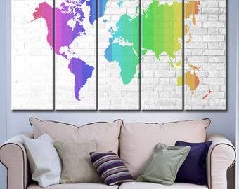 Rainbow world map etsy rainbow world map world map brick abstract wall art world map abstract sciox Choice Image