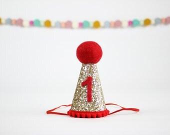 2nd Birthday Glitter Hat | Girl Birthday Party Hat | Kids Birthday Gift | Second Birthday Hat | Gold + Red