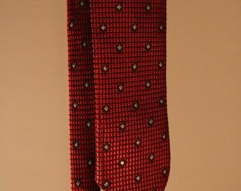 90's vintage tie narrow red squares black