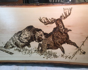 GRIZZLY/MOOSE  Wood burning art - Pyrography - woodburning - wildlife - bear
