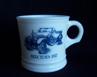 Surrey Milk Glass Shaving Mug with 1927 Mercedes