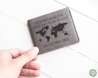 Wallet for Dad, Fathers Day Gifts, Leather World Map Wallet, Bifold, Slim Wallet, Gift for Husband, Father, Dad Gifts, Dad Wallet, Custom