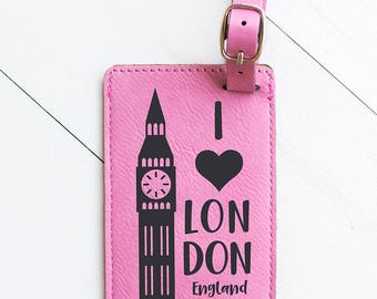 Travel Gift, European Travel, London, England Luggage Tag - Big Ben, Landmark, Pink Leather Luggage Tag, Suitcase, English, UK, Travel LT13