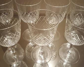 Set of Six (6) Intricate Diamond Cut Crystal Red Wine Glasses