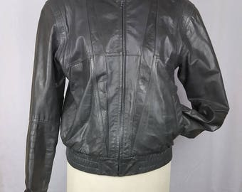 Vintage 90s Wilsons Biker Jacket, Grey Leather, Mandarin Collar, 40