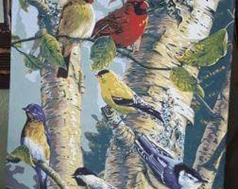 Hand-painted colorful birds in a birch tree, completed paint by number