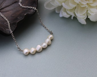 Freshwater pearl necklace, natural shape pearls,  beaded necklace