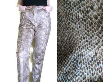 Vintage Snakeskin pants, Faux leather pants, Highwaisted trousers, 80s pants, Loose pants, Size 42