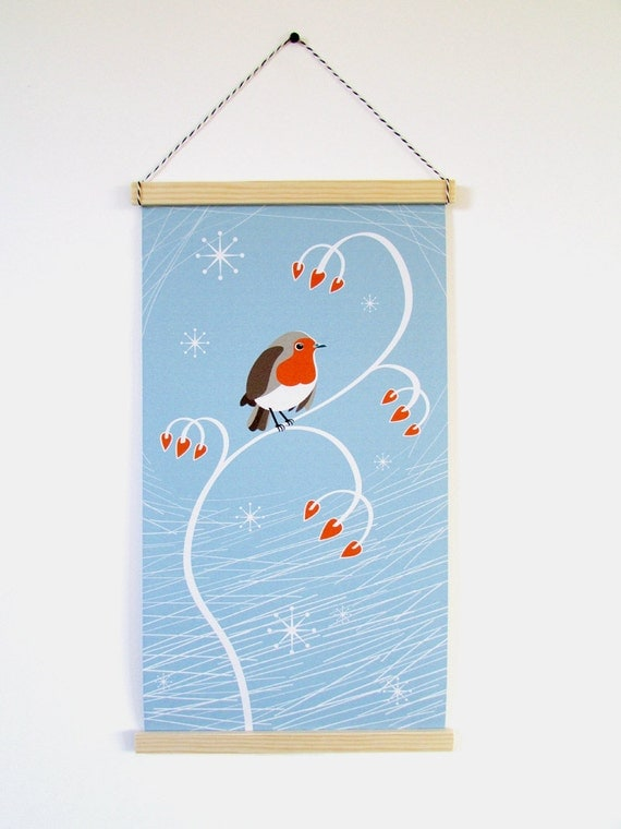 Christmas robin mid century 1950 styled wall hanging banner, bird, winter theme, ice blue with snowflakes and red berries