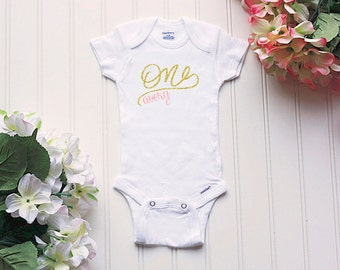 First Birthday Onesie® - girls first birthday outfit, glitter birthday bodysuit, milestone Onesie®, personalized outfit, cake smash outfit