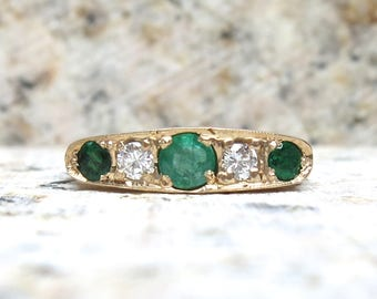 Early Victorian Emerald and Diamond Ring, Vintage Engagement Ring, Emerald and Diamond Band