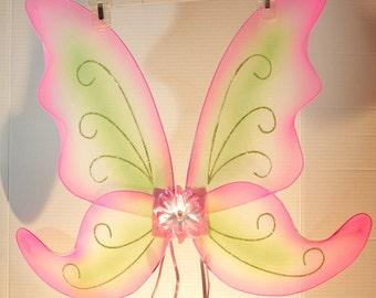 JUMBO Pink & Green Butterfly/Fairy Wings
