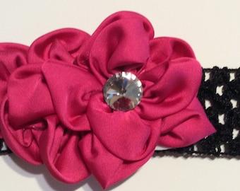 Magenta and black headband