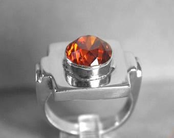 Spessartite Red Orange Garnet Sterling Silver Ring Sz 7.75 r39