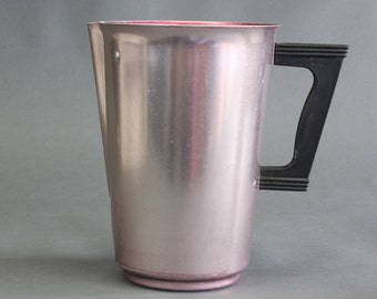 Vintage Metal Pitcher | Pink Aluminium Sunburst Pitcher | Vintage Barware