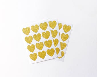 Set of 36 Gold Glitter Heart Stickers