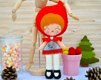 Red riding hood doll Collectible plush toy Woodland decor Fairytale baby shower Baby girl gift Baby girl nursery decor 100% wool felt