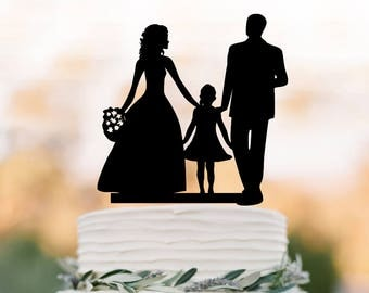 Family Wedding Cake topper with girl, bride and groom silhouette personalized wedding cake toppers initial, funny cake toppers with date