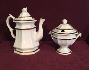 Mid 19th Century Edward Walley Ironstone China Teapot and Sugar Bowl