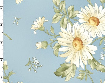 Daisies bouquet fabric, Gentle Breeze, Jan Douglas, Maywood Studios, Daisies spring flowers, quilting apparel cotton poplin by the yard